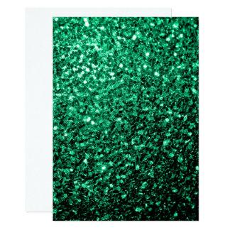 Personalize Emerald Green glitter sparkles Invite