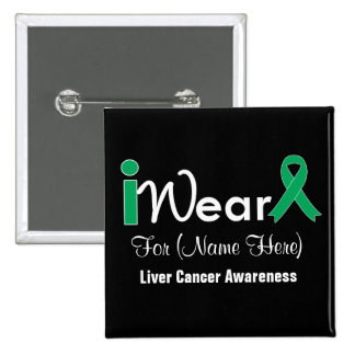 Personalize Emerald Green Ribbon Liver Cancer 15 Cm Square Badge