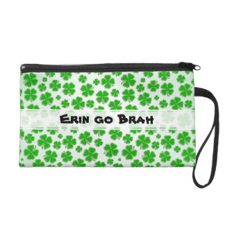"Personalize: ""Erin go Brah"" Green Shamrock Collage Wristlets"