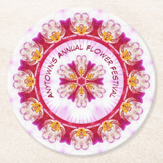 Personalize Event Name - Purple Orchid Photography Round Paper Coaster