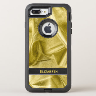Personalize:  Faux Black and Gold Lame' Metallic OtterBox Defender iPhone 8 Plus/7 Plus Case