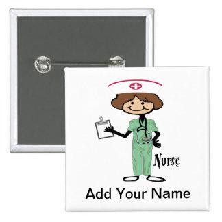 Personalize Female Nurse Button