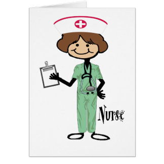 Personalize Female Nurse Greeting Cards