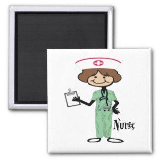 Personalize Female Nurse Square Magnet