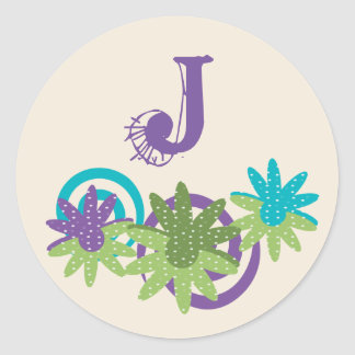 Personalize Floral Funky Monogram Round Sticker