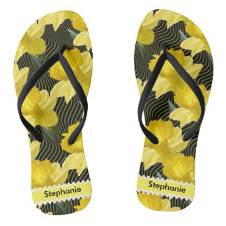 Personalize: Floral Photography Abstract Daffodils Flip Flops
