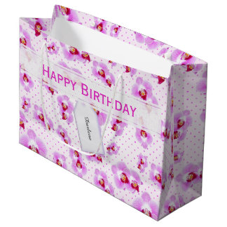 Personalize:  Floral Photography Purple Orchid Large Gift Bag