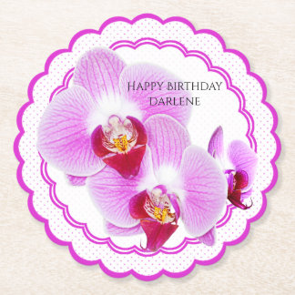 Personalize:  Floral Photography Purple Orchid Paper Coaster