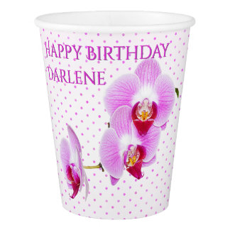 Personalize:  Floral Photography Purple Orchid Paper Cup