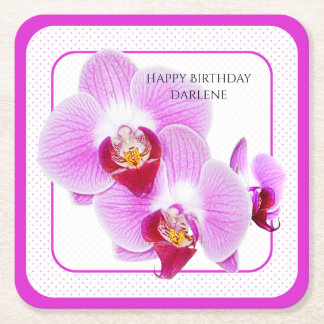 Personalize:  Floral Photography Purple Orchid Square Paper Coaster