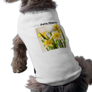 Personalize: Floral Photography:  Yellow Daffodils Sleeveless Dog Shirt