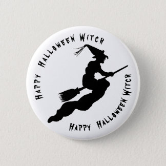 Personalize: Flying Black Halloween Witch 6 Cm Round Badge