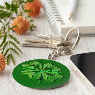(Personalize)Four Leaf Clover with Name Key Ring