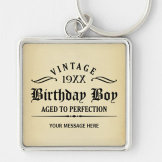 Personalize Funny Birthday Silver-Colored Square Key Ring