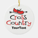 PERSONALIZE Funny Cross Country Runner ©Shoe Arrow Round Ceramic Decoration