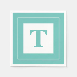 Personalize: Geometric Minimalist Teal Initial Paper Napkins