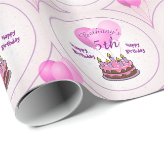 Personalize Girls 5th Birthday Party Pink Balloons Wrapping Paper