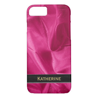 Personalize: Girly Faux Fuchsia Lame' Metallic iPhone 7 Case