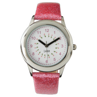 Personalize:  Girly Pink Floral Circle of Tulips Watch