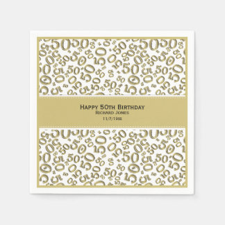 Personalize:  Gold and White 50th Birthday Theme Paper Napkins