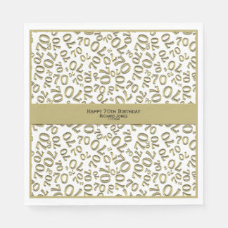 Personalize:  Gold and White 70th Birthday Theme Paper Serviettes