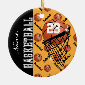 Personalize Gold Basketball Christmas Ornament