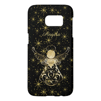 Personalize: Gold/Black Christmas Angel of Grace