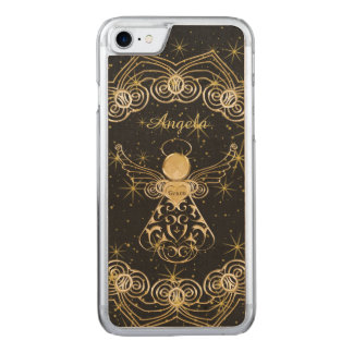 Personalize: Gold/Black Christmas Angel of Grace Carved iPhone 8/7 Case