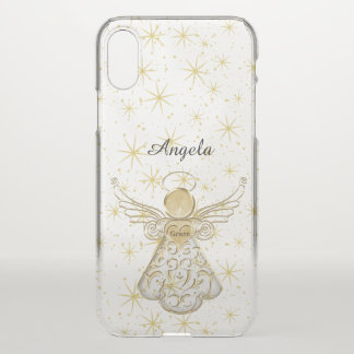Personalize: Gold/Clear Christmas Angel of Grace iPhone X Case