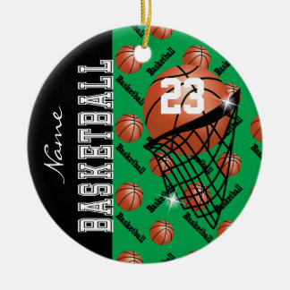 Personalize Green Basketball Christmas Ornament