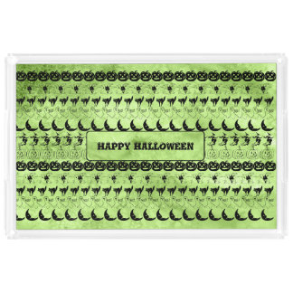 Personalize: Green Halloween Fun Font Art Pattern Acrylic Tray