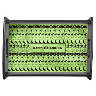 Personalize: Green Halloween Fun Font Art Pattern Serving Tray