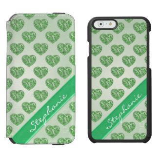 Personalize: Green Tile Hearts Geometric Pattern Incipio Watson™ iPhone 6 Wallet Case