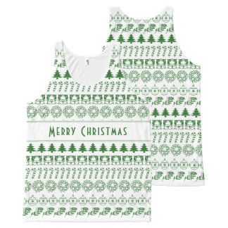 Personalize:Green/White Christmas Font Art Stripes All-Over Print Tank Top