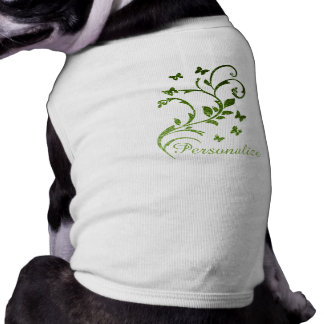 Personalize Greenery glitter sparkles Swirls dog Shirt