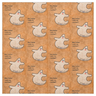 Personalize Halloween Diva Ghost  Nubby Orange (S) Fabric