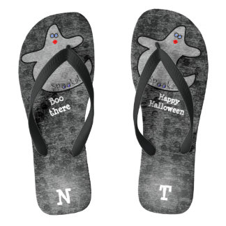 Personalize: Halloween Diva Ghost on Black Flip Flops