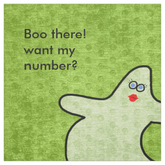 Personalize: Halloween Diva Ghost on Lime Green Fabric