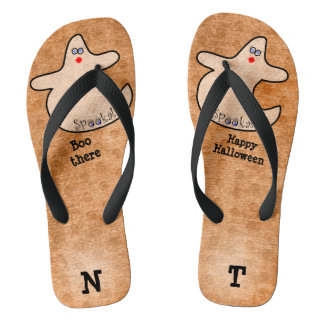 Personalize: Halloween Diva Ghost on Orange Flip Flops