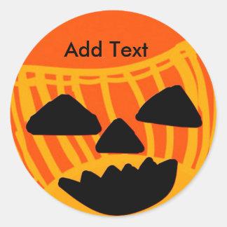 Personalize Halloween Pumpkin Round Sticker