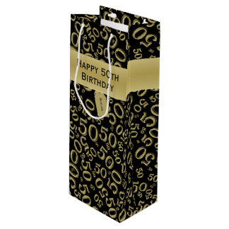 Personalize:  Happy 50th Birthday Gold/Black (W) Wine Gift Bag