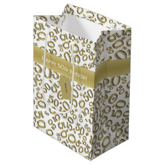 Personalize:  Happy 50th Birthday Gold/White (M) Medium Gift Bag