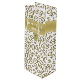 Personalize:  Happy 50th Birthday Gold/White (W) Wine Gift Bag