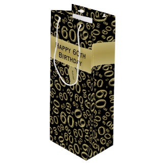 Personalize:  Happy 60th Birthday Gold/Black (W) Wine Gift Bag