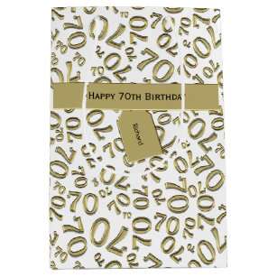 Personalize Happy 70th Birthday Party Theme M Medium Gift Bag