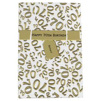 Personalize:  Happy 70th Birthday Party Theme (M) Medium Gift Bag