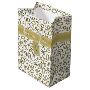 Personalize Happy 90th Birthday Gold White M Medium Gift Bag