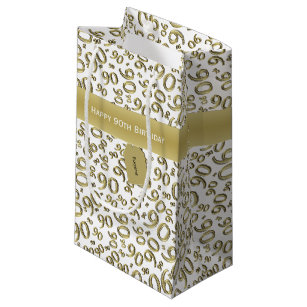Personalize Happy 90th Birthday White Gold S Small Gift Bag