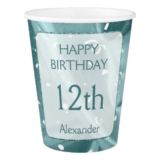 "Personalize: ""Happy Birthday"" Aqua Textured"
