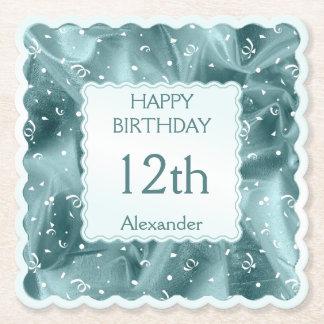 Personalize: Happy Birthday Aqua Textured Scallops Paper Coaster